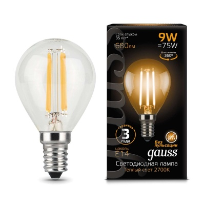 Лампа Gauss LED Filament Candle tailed E14 9W холодный свет 4100K