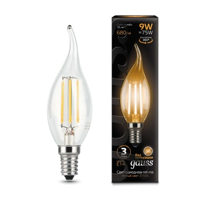 Лампа Gauss LED Filament Candle tailed E14 9W теплый свет 2700K