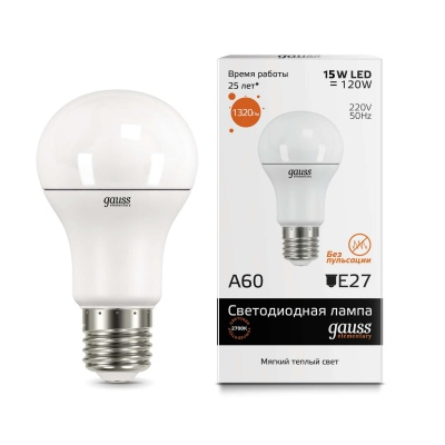 Лампа Gauss LED Elementary A60 15W E27 теплый свет 3000K