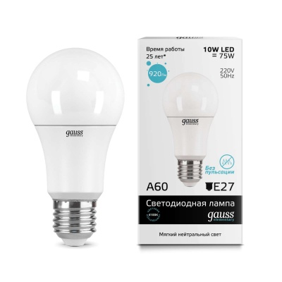 Лампа Gauss LED Elementary A60 10W E27 холодный свет 4100K