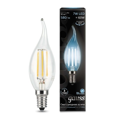 Лампа Gauss LED Filament Candle tailed E14 7W холодный свет 4100К